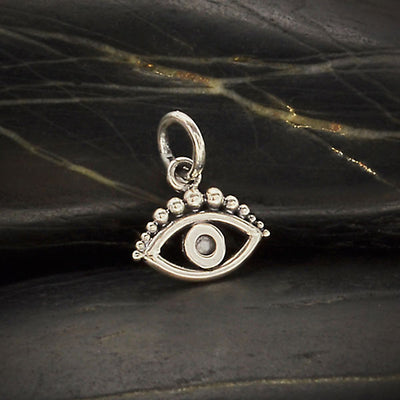 Sterling Silver Evil Eye Charm with Granulation,