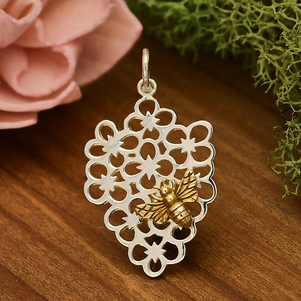Sterling Silver Flower Charm with Bronze Bee