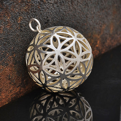 Sterling Silver Flower of Life Sphere Pendant,