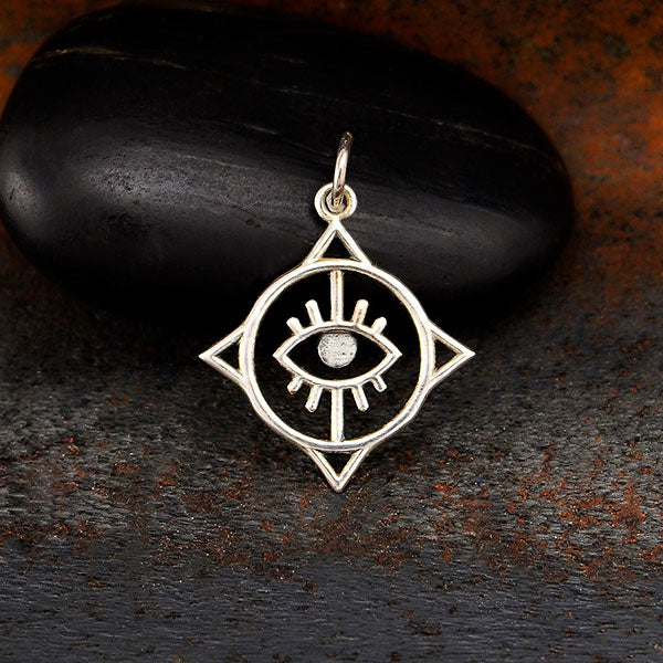 Sterling Silver Geometric Evil Eye Charm