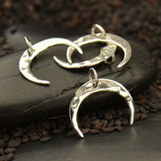 Hammered Crescent Moon Charm,