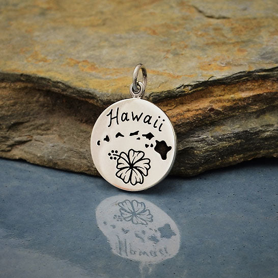 Sterling Silver Hawaii Charm on a Disk - Poppies Beads n' More