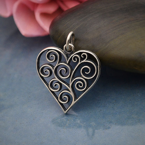 Sterling Silver Heart Charm with Scrollwork