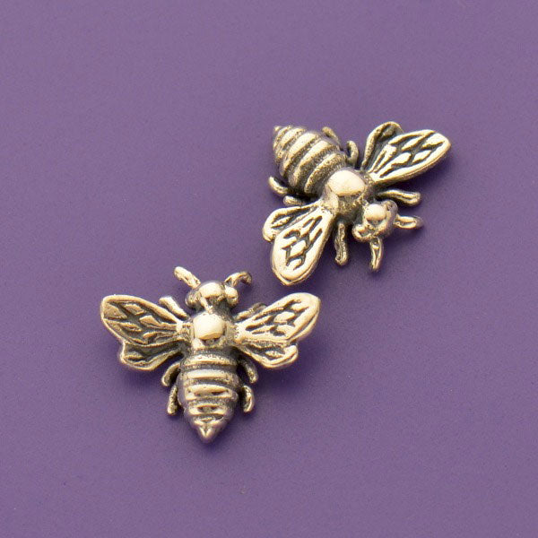 Sterling Silver Honey Bee Charm Embellishment - Poppies Beads n' More
