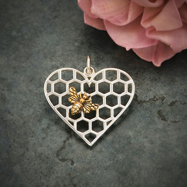 Sterling Silver Honeycomb Heart Pendant with Bronze Bee, Nina Designs