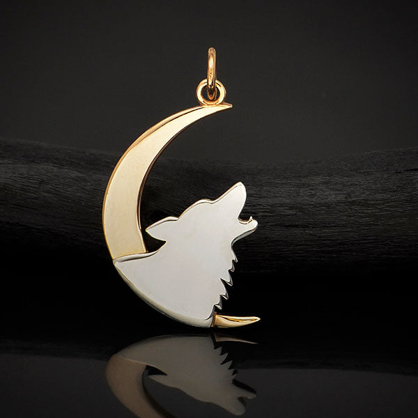 Sterling Silver Howling Wolf Charm with Bronze Moon, Nina Designs