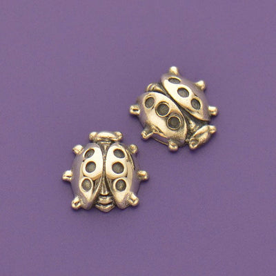 Sterling Silver Lady Bug Charm Embellishment - Poppies Beads n' More