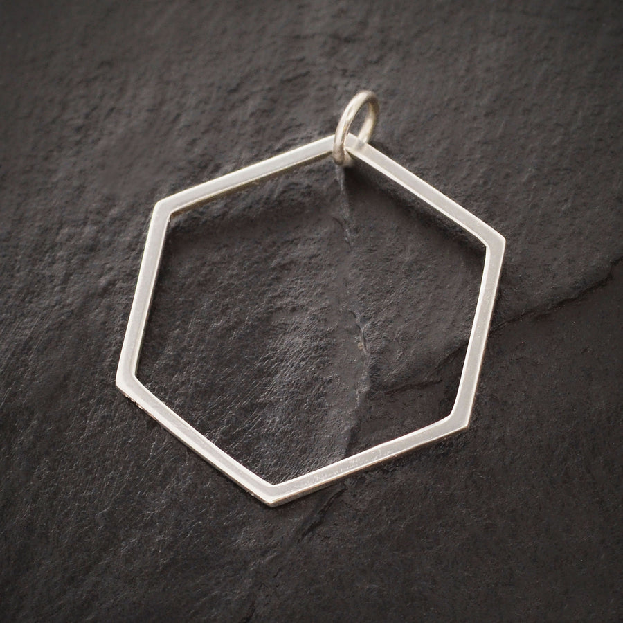 Sterling Silver Large Hexagon Charm, Nina Designs