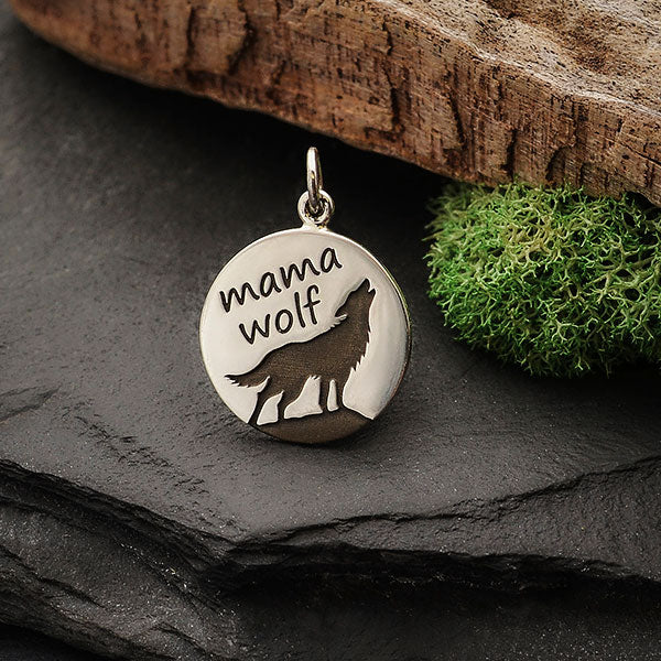 Sterling Silver Mama Wolf Charm Etched on Disk, Nina Designs