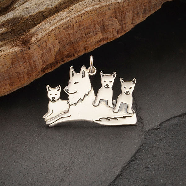 Sterling Silver Mama Wolf Pendant with Three Pups, Nina Designs