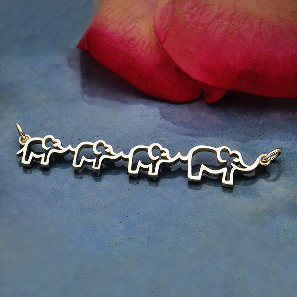 Sterling Silver Mama and Three Baby Elephant Pendant, Nina Designs