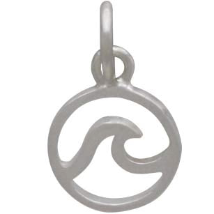 Sterling Silver Mini Openwork Wave Charm,