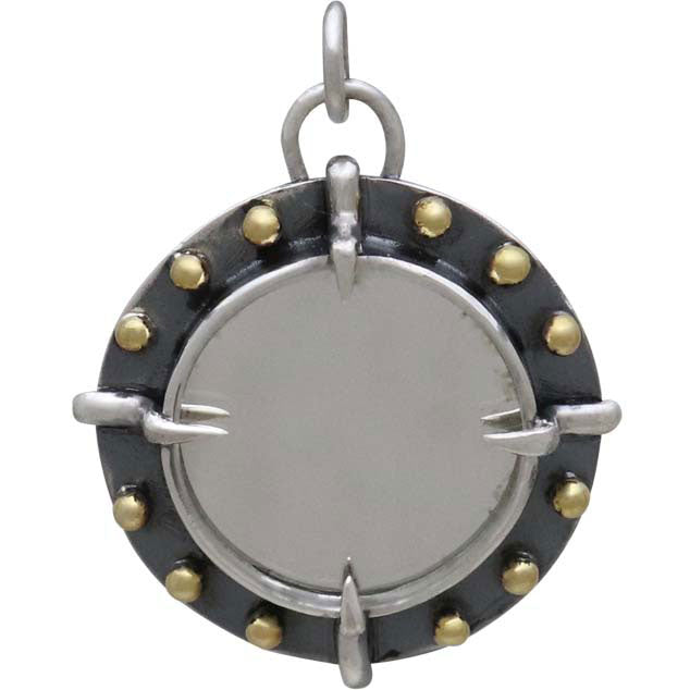 Sterling Silver Mirror Charm with Bronze Granulation