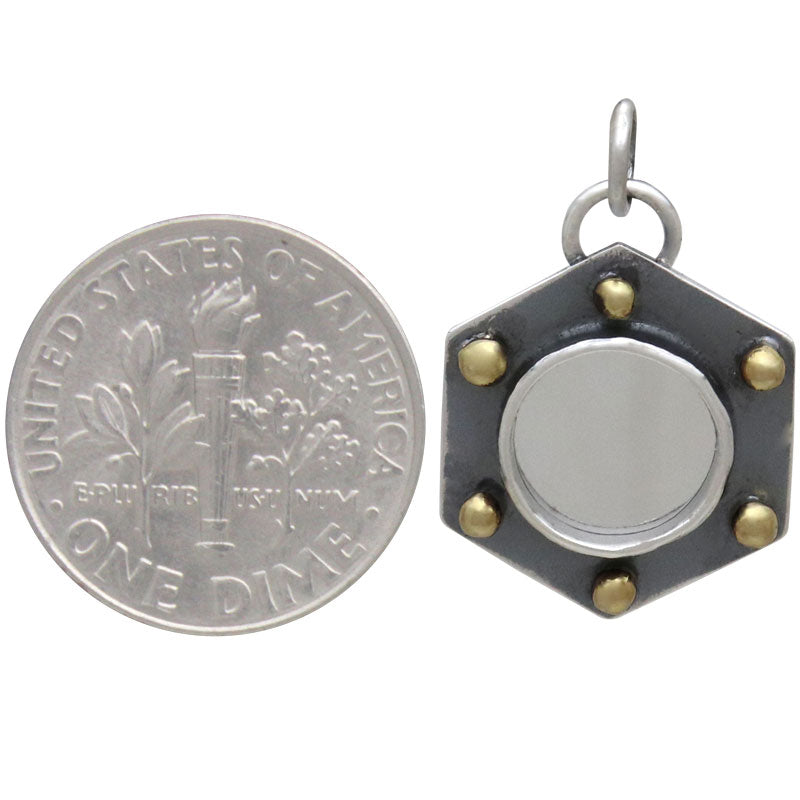 Sterling Silver Mirror Charm with Hexagon Frame, Nina Designs