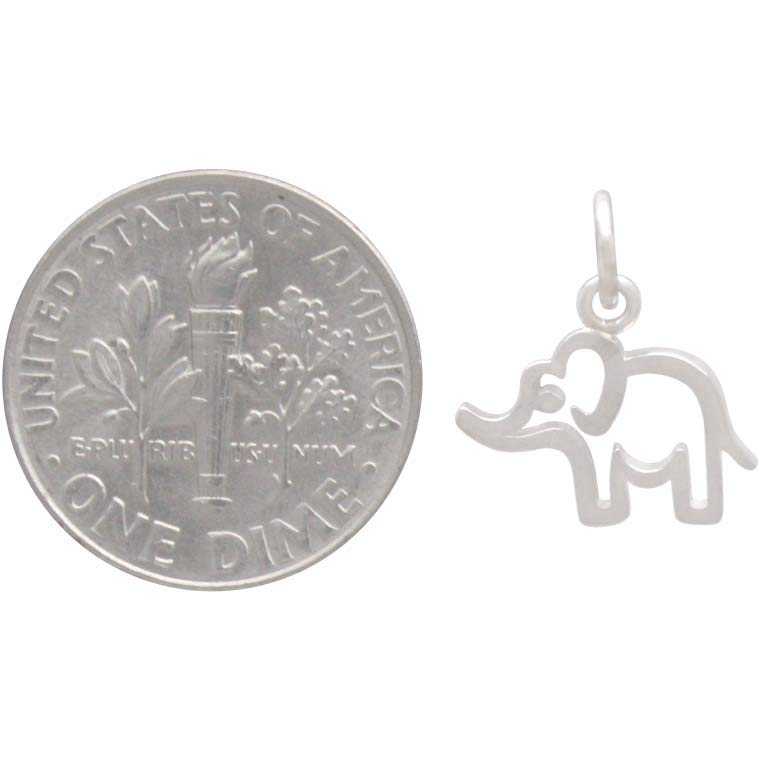 Sterling Silver Openwork Baby Elephant Charm, Nina Designs