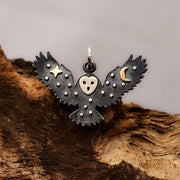 Sterling Silver Owl Charm with Bronze Star and Moon - Poppies Beads n' More
