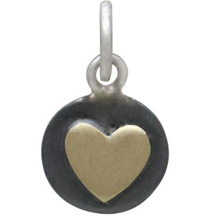 Sterling Silver Oxidized Disk Charm with Bronze Heart,