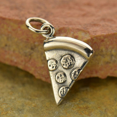 Sterling Silver Pizza Charm - Food Charm