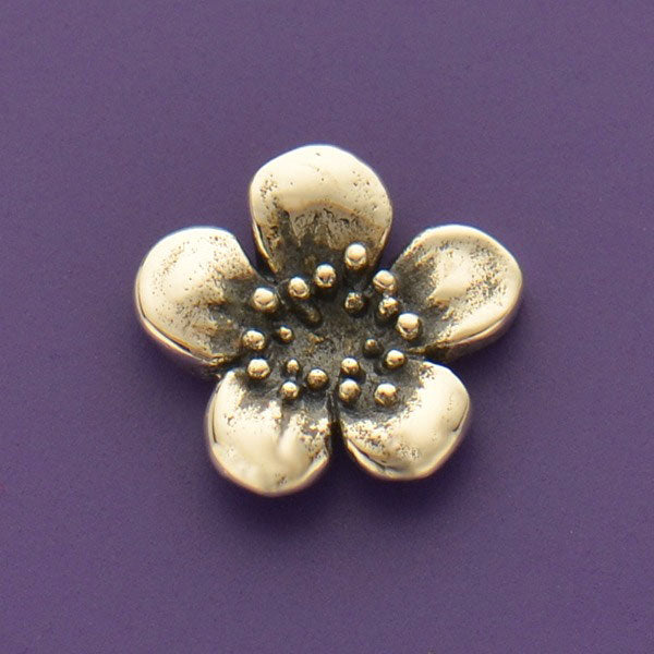 Sterling Silver Plum Blossom Charm Embellishment - Poppies Beads n' More