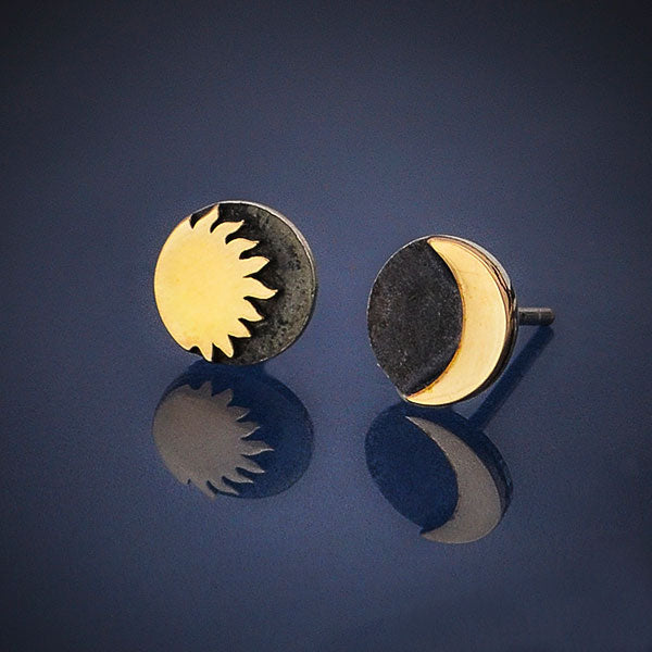 Sterling Silver Post Earrings with Bronze Sun and Moon