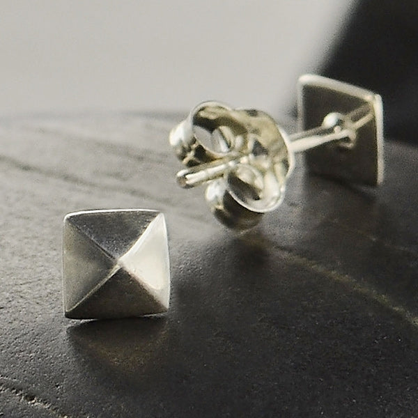 Sterling Silver Pyramid Stud Earrings,