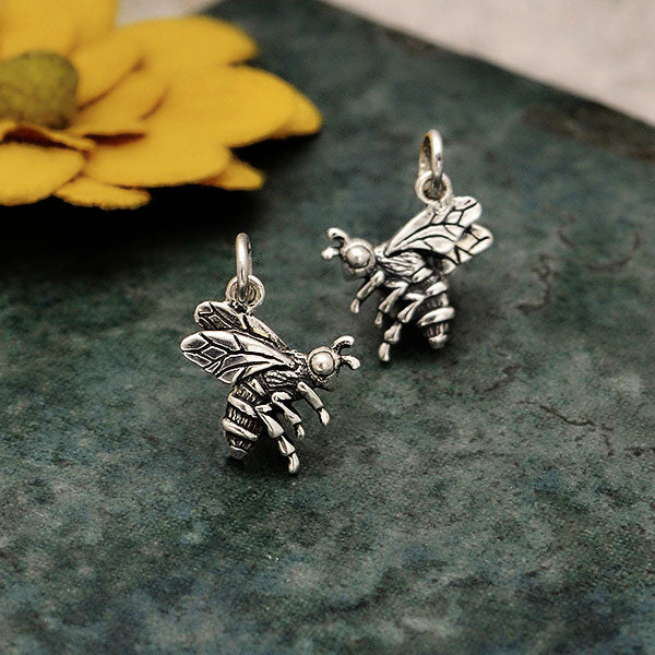 Sterling Silver Realistic Bee Charm