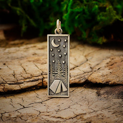 Sterling Silver Rectangle Camping Charm with Tent - Poppies Beads n' More