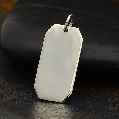 Sterling Silver Rectangle Stamping Blank Charm - Poppies Beads n' More