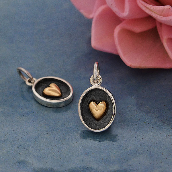 Sterling Silver Shadow Box Charm with Bronze Heart - Poppies Beads n' More