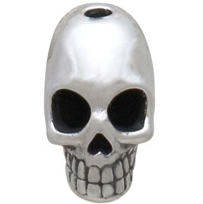 Sterling Silver Skull Bead with Vertical Hole