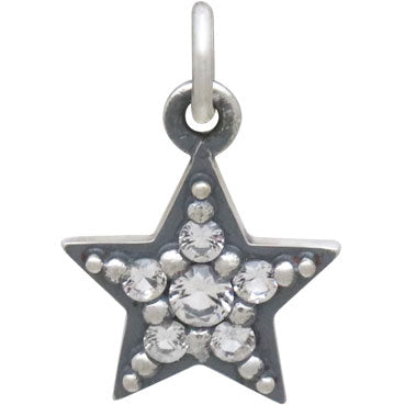 Sterling Silver Star Charm with Nano Gems