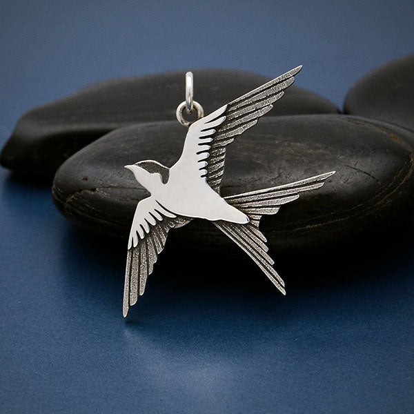 Sterling Silver Swallow Pendant,