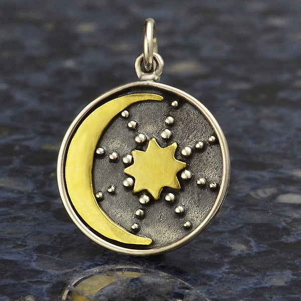 Sterling Silver Talisman Charm with Bronze Sun & Moon,