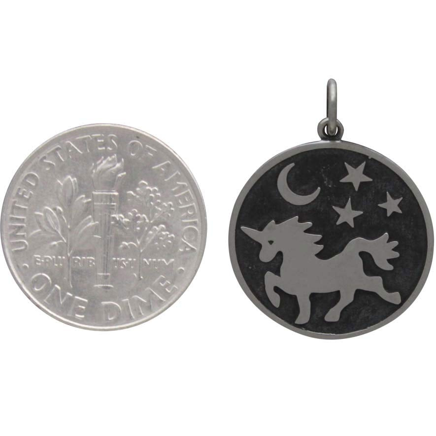 Sterling Silver Unicorn Pendant with Moon and Stars, Nina Designs