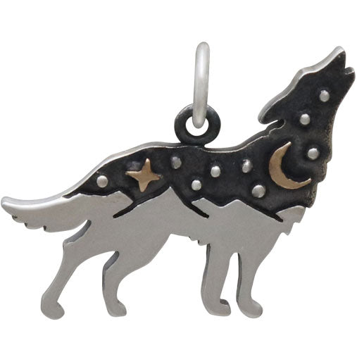 Sterling Silver Wolf Charm with Bronze Star and Moon - Poppies Beads n' More