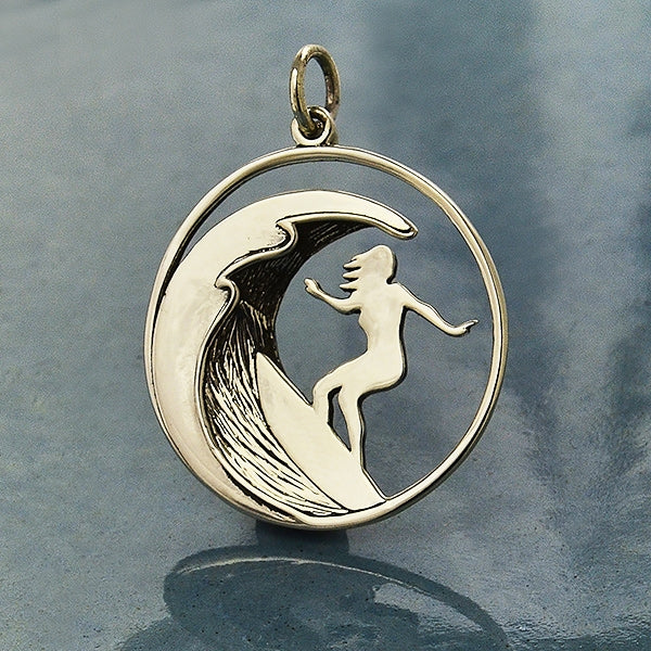 Sterling Silver Surfer Girl Charm,