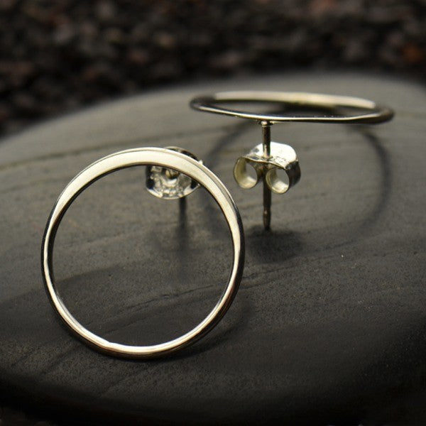 Open Circle Post Earring in 14K Shiny Gold Plate - Poppies Beads n' More