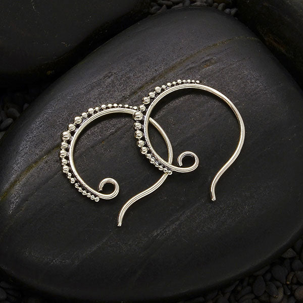 Hoop Earring Hooks with Granulation,
