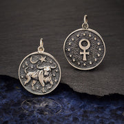 Sterling Silver Astrology Taurus Pendant - Poppies Beads n' More