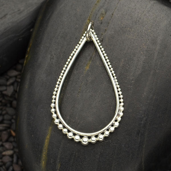 Sterling Silver Teardrop Link with Graduated Granulation