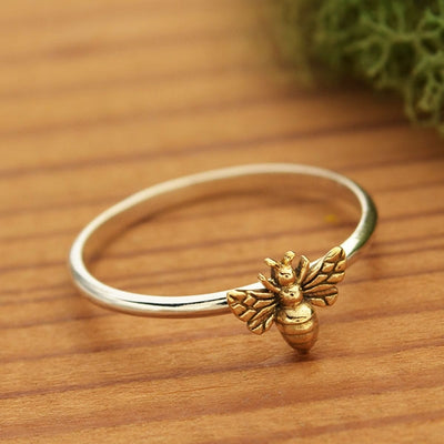 Sterling Silver Ring - Tiny Bee Ring