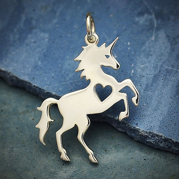 Sterling Silver Unicorn Charm with Heart Cutout