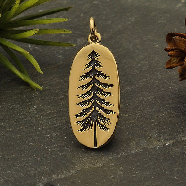 Sterling Silver Pine Tree Charm Etched on an Oval, - Poppies Beads n' More