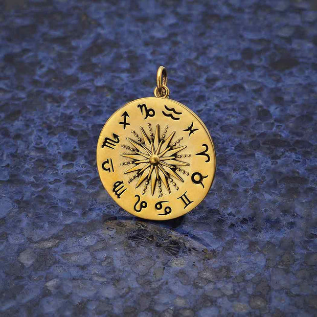 Sun Pendant with Zodiac Signs - Poppies Beads n' More