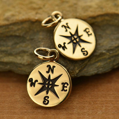 Small Compass Charm - Poppies Beads n' More