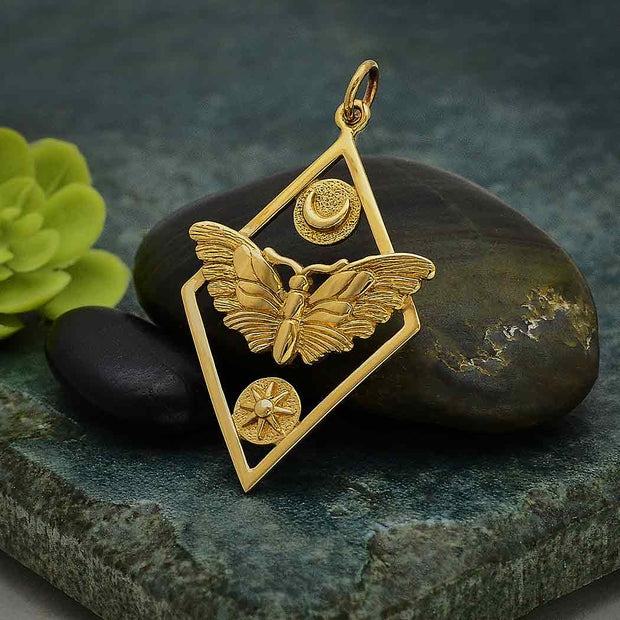 Geometric Moth Charm with Sun and Moon - Poppies Beads n' More