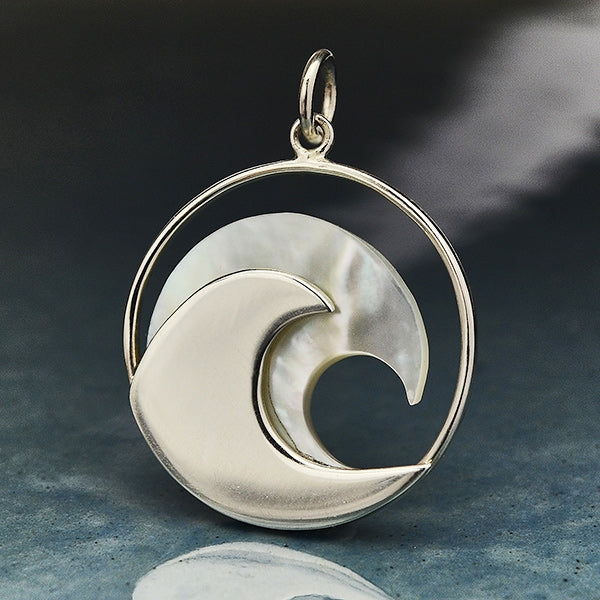 Sterling Silver Wave Pendant with Mother of Pearl,