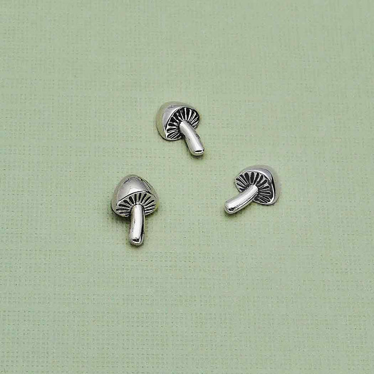Sterling Silver Mushroom Solderable Charm - Poppies Beads n' More