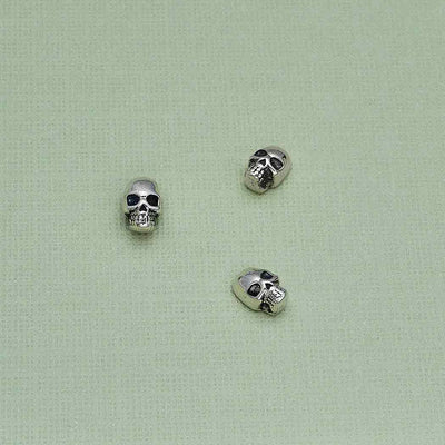 Sterling Silver Skull Solderable Charm - Poppies Beads n' More