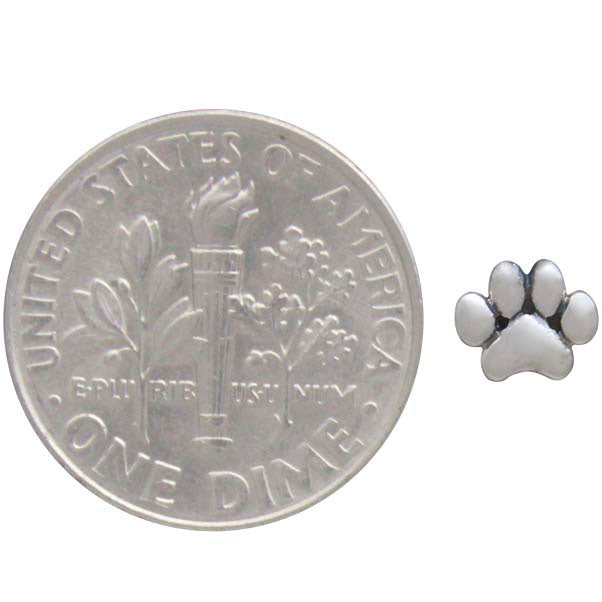 Sterling Silver Puffy Paw Print Solderable Charm - Poppies Beads n' More